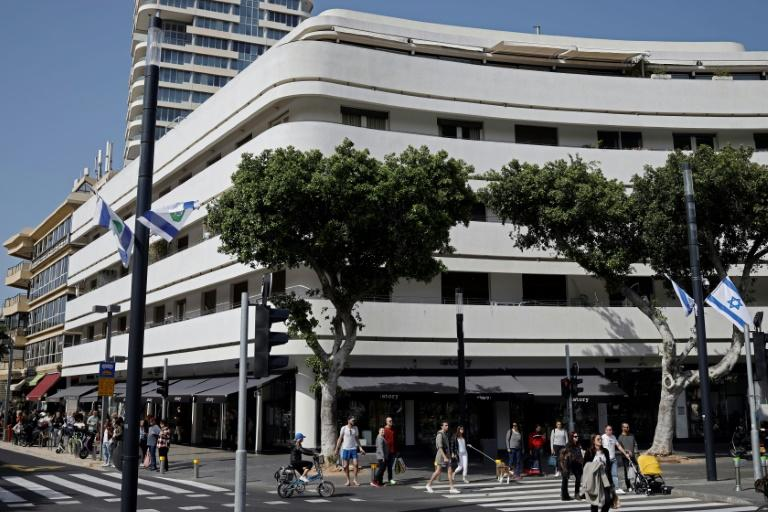 Dizengoff Street in central Tel Aviv embodies the way Bauhaus shaped the city with its ethos of seeking to create homes for all social classes (AFP Photo/THOMAS COEX)