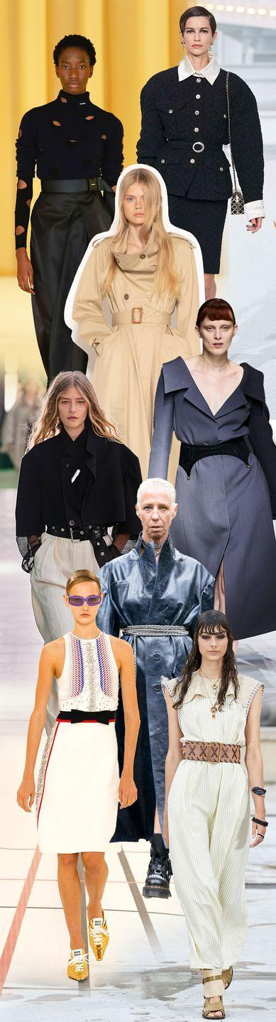 <p>The waist has it for spring. Though belts are hardly new, this fresh iteration is never low slung. Instead, it's all about creating shape on the body. Whether you're all about bows or something edgier like heavy metals, you'll have no trouble finding middle ground.</p><p><em>Pictured from top to bottom: Chanel, Prada, JW Anderson, Fendi, Louis Vuitton, Art School, Miu Miu, and Chloe. </em></p>