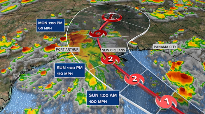 Ida forecast track from the National Hurricane Center. / Credit: CBS News