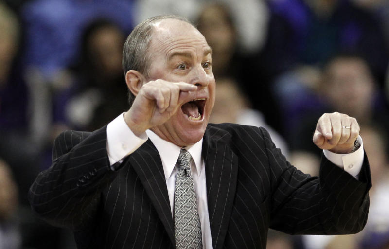 FILE - In this Feb. 2, 2012 file photo, UCLA coach Ben Howland gestures in the second half of an NCAA college basketball game against Washington, in Seattle. Players and staff members from the past four UCLA basketball teams say that  coach Howland allowed an influx of talented but immature recruits to undermine team discipline and morale as the once-proud program has struggled to live up to its storied history, Sports Illustrated reported Wednesday, Feb. 29, 2012. (AP Photo/Elaine Thompson, File)