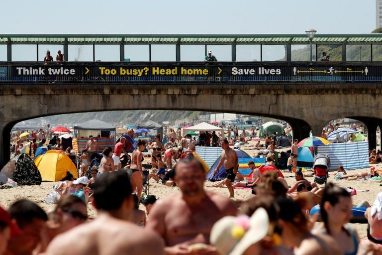 A busy beach in Bournemouth, Britain, where government advisors have warned the country's lockdown was being lifted too quickly