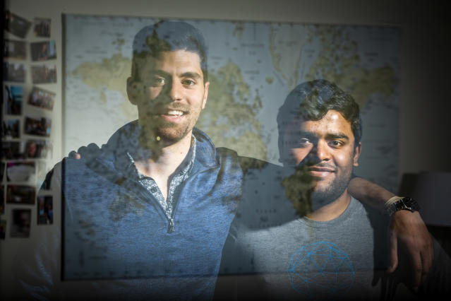 Alex Modon, left, and Vikram Tiwari, co-founders of Omni Labs, Inc., on April 13, 2018, in San Francisco. (Photo: Eric Kayne for Yahoo News)
