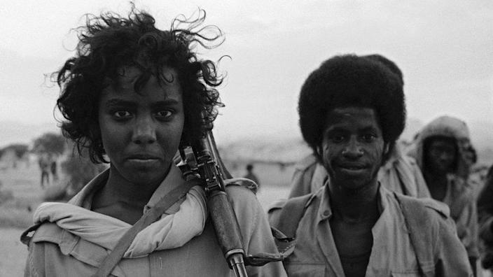 Eritrean People's Liberation Front fighters in Eritrea, in Northeast Africa, during the Eritrean War of Independence, December 5, 1989.