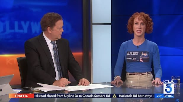 Watch Kathy Griffin Shut Down KTLA Anchor Who Questions Plight of Women in Comedy (Video)