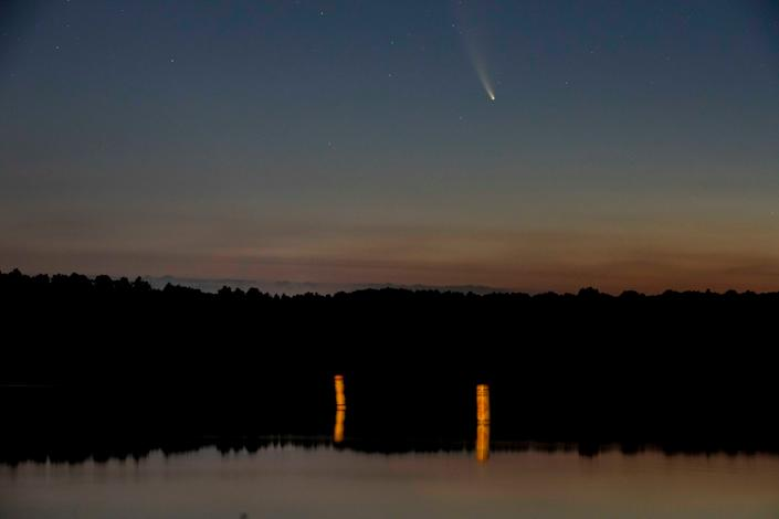 A view of Comet Neowise on Tuesday July 14, 2020, at East Fork State Park outside of Hamlet, Ohio.