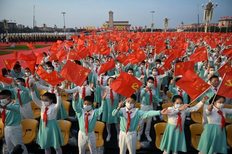 Students in Beijing celebrate the party's 100th anniversary