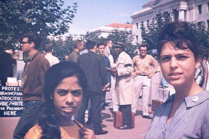 Kamala Harris's mother, Shyamala Gopalan, left, with her college friend Lenore Pomerance at a protest on the UC Berkeley campus. (Courtesy of Kamala Harris)