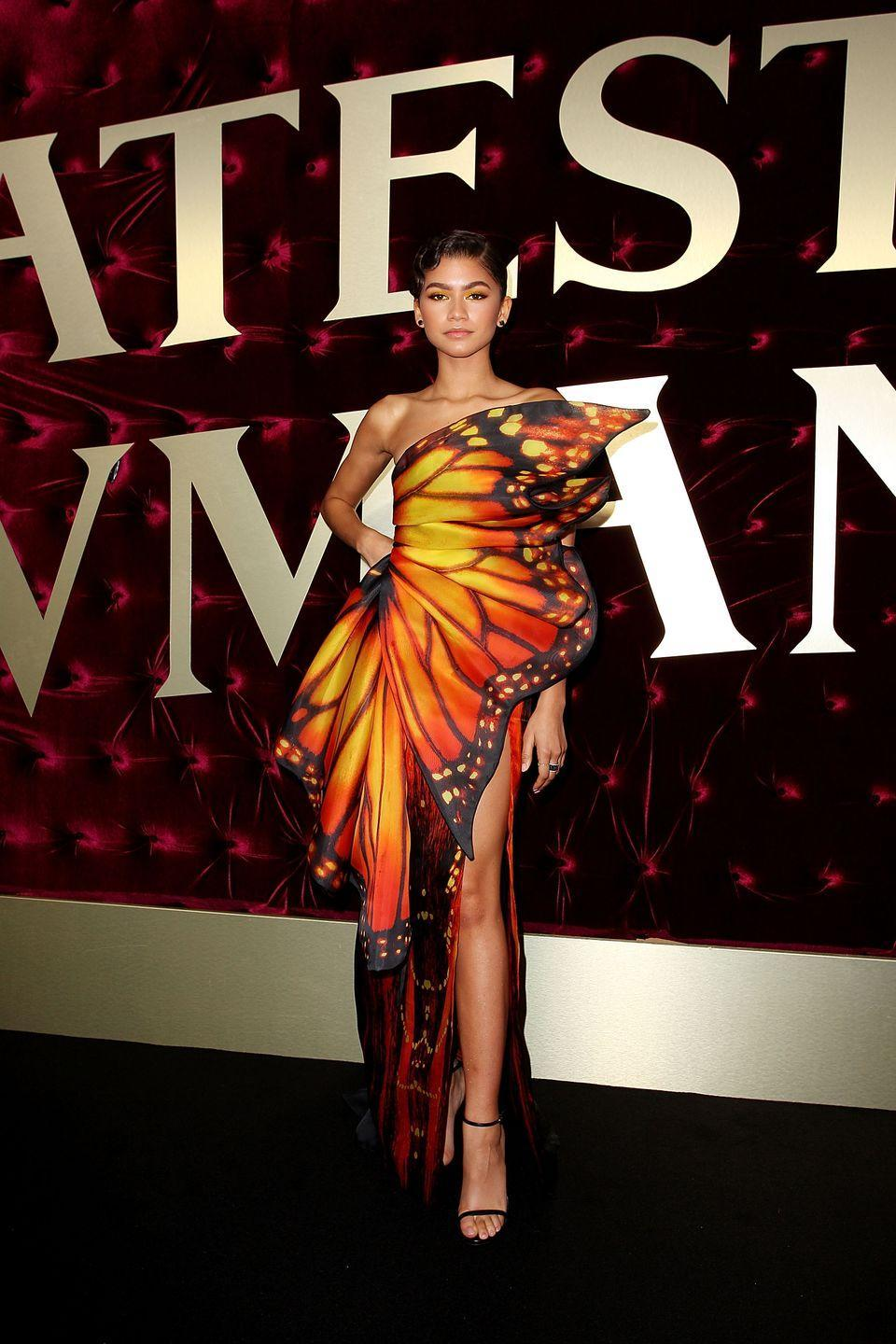 <p>Her butterfly look for <em>The Greatest Showman</em>'s Australian premiere was such a moment. This unique Moschino design from the label's spring 2018 collection was the definition of a statement dress.</p>