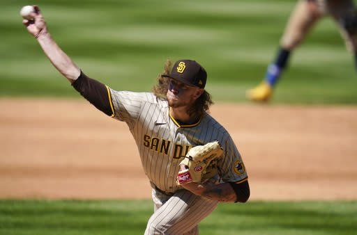 San Diego Padres starting pitcher Chris Paddack works against the Colorado Rockies in the third inning of a baseball game Sunday, Aug. 30, 2020, in Denver. (AP Photo/David Zalubowski)