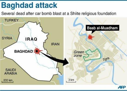 Map locating suicide attack on a Shiite building in the Baghdad suburb of Baab al-Muadham