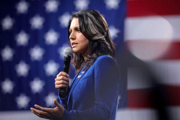 PHOTO: 2020 Democratic presidential candidate and Rep. Tulsi Gabbard speaks at an event in Des Moines, Iowa, Aug. 10, 2019. (Scott Morgan/Reuters, FILE)
