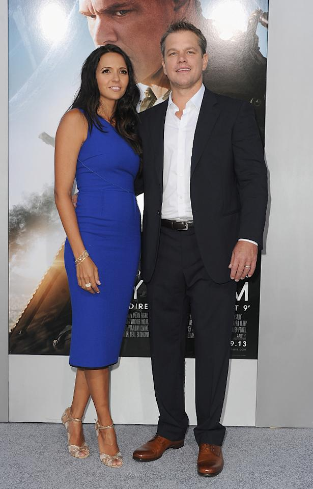 "WESTWOOD, CA - AUGUST 07:  Luciana Barroso and actor Matt Damon attend the premiere of TriStar Pictures' ""Elysium""  at Regency Village Theatre on August 7, 2013 in Westwood, California.  (Photo by Kevin Winter/Getty Images)"