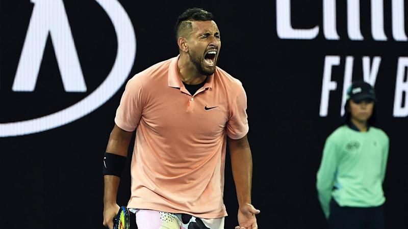 Pictured here, Nick Kyrgios celebrates his first round Australian Open win.