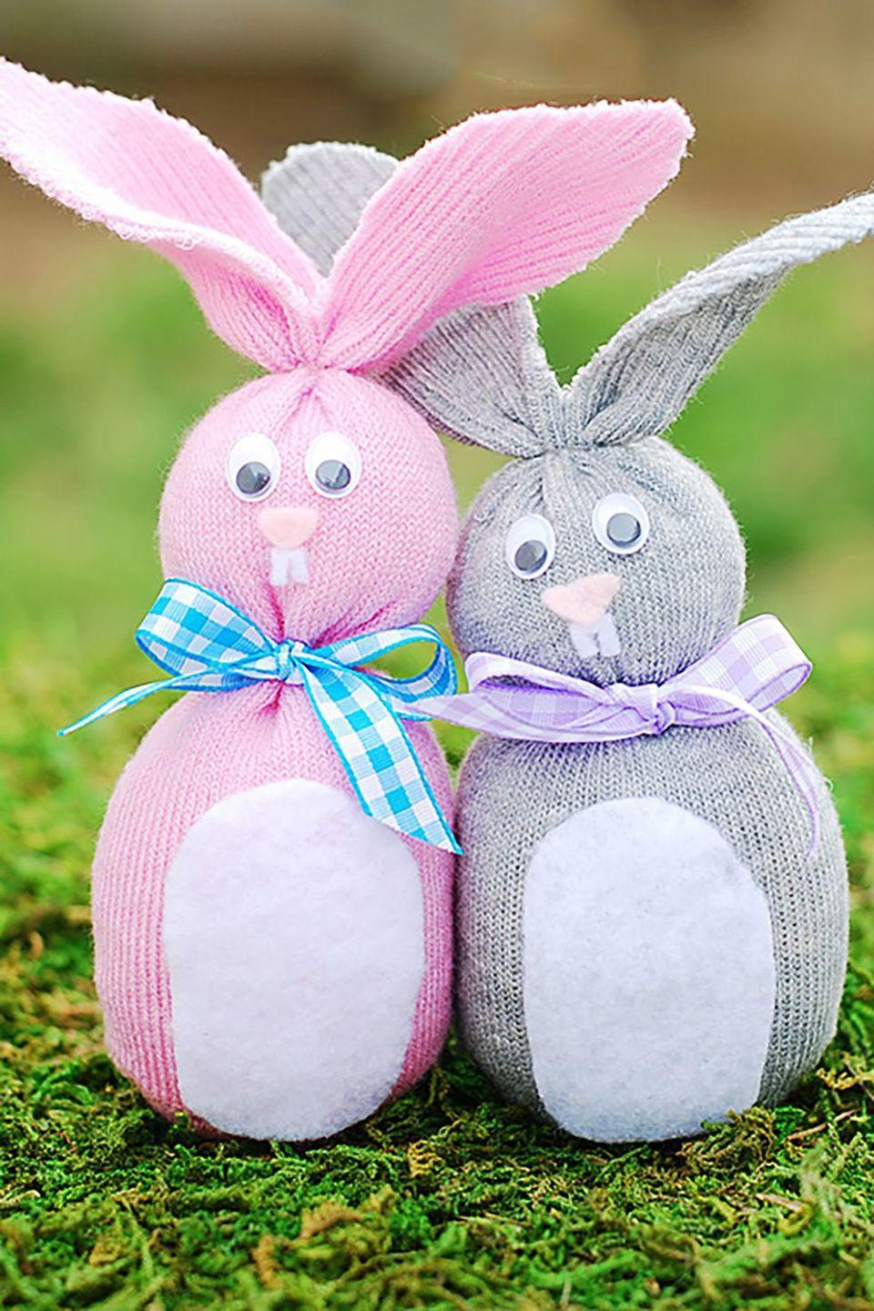 """<p>A small sock, glue-on googly eyes, some ribbon, and felt become an adorable woodland creature in this kid-friendly craft. </p><p><strong>Get the tutorial at <a href=""""http://apumpkinandaprincess.com/2013/03/sock-bunny-easter-crafts-for-kids.html"""" rel=""""nofollow noopener"""" target=""""_blank"""" data-ylk=""""slk:A Pumpkin & A Princess"""" class=""""link rapid-noclick-resp"""">A Pumpkin & A Princess</a>.</strong><br></p>"""