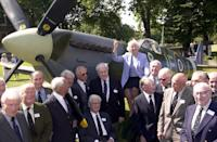 As part of the sixtieth anniversary of the Battle of Britain, force's sweetheart Dame Vera Lynn is joined by members of the Battle Of Britain Fighter Association to launch the popular Spitfire Summer Exhibition at the Imperial War Museum. (Photo by Stefan Rousseau - PA Images/PA Images via Getty Images)