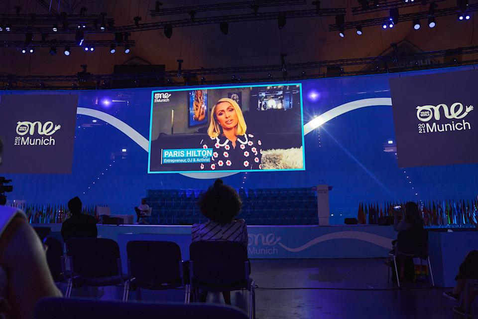 Paris Hilton appeared via video call at the One Young World event in Munich. (Oliver Sold/One Young World)
