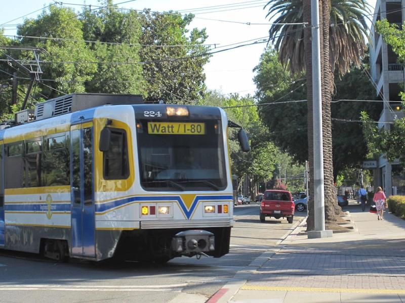 Sacramento light rail train (similar to vehicle pictured) accident leaves 27 people injured
