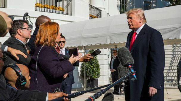 PHOTO: President Donald Trump speaks to reporters upon arrival at the White House in Washington, Sunday, Nov. 3, 2019. (Manuel Balce Ceneta/AP)