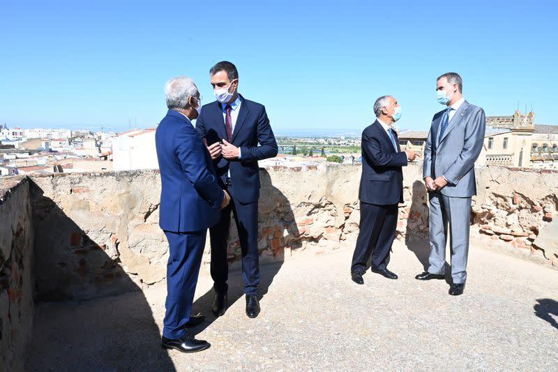 Portugal's Prime Minister Antonio Costa, Spain's Prime Minister Pedro Sanchez, Portugal's President Marcelo Rebelo de Sousa and Spain's King Felipe attend the reopen borders ceremony between Spain and Portugal in Badajoz