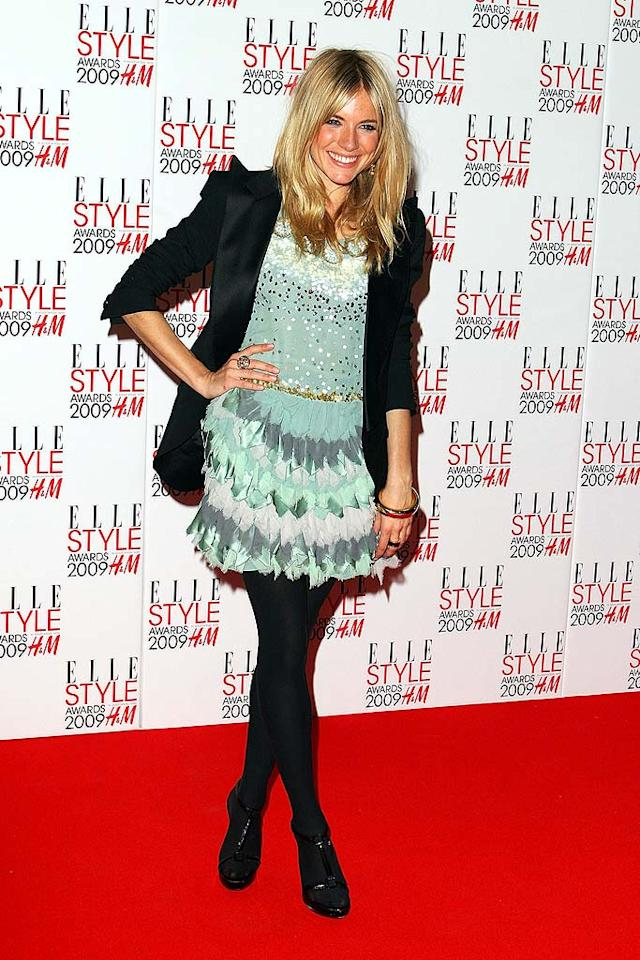 "Sienna Miller picked up the Elle Style Icon Award in this mint monstrosity. We demand a recount! Mike Marsland/<a href=""http://www.wireimage.com"" target=""new"">WireImage.com</a> - February 9, 2009"