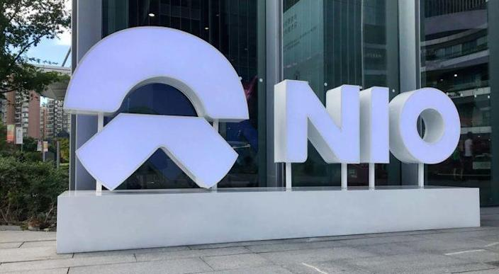 A Nio (NIO) sign outside of the company's facilities in Shanghai, China.