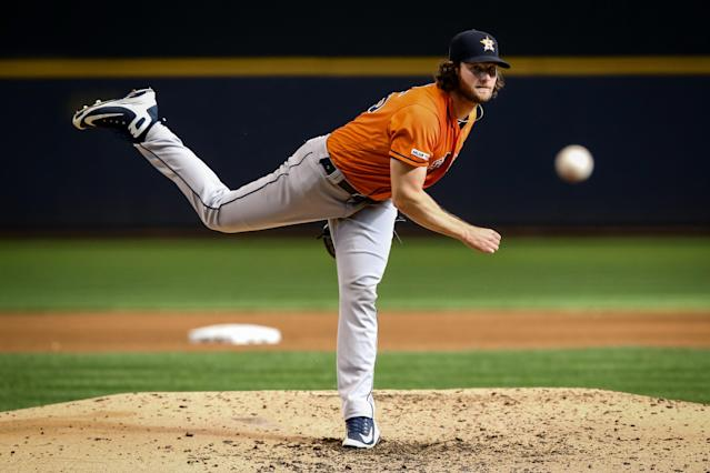 """<a class=""""link rapid-noclick-resp"""" href=""""/mlb/players/9121/"""" data-ylk=""""slk:Gerrit Cole"""">Gerrit Cole</a> has a great chance to be the first pitcher taken in fantasy drafts next season depending on where he ends up as a free agent. (Photo by Dylan Buell/Getty Images)"""