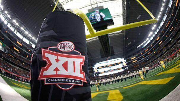 PHOTO: In this Dec. 7, 2019, file photo, a Big 12 logo is shown as the Baylor Bears band plays on the field before Baylor plays the Oklahoma Sooners in the Big 12 Football Championship at AT&T Stadium in Arlington, Texas. (Ron Jenkins/Getty Images, FILE)