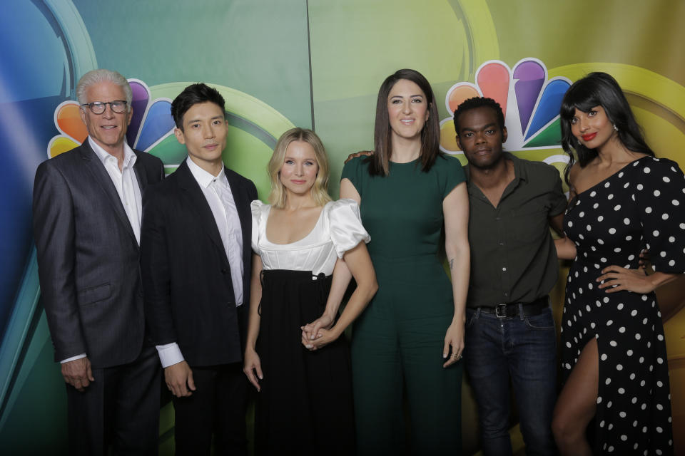 """NBCUNIVERSAL EVENTS -- NBCUniversal Press Tour, August 2019 -- NBC's, """"The Good Place"""" -- Pictured: (l-r) Ted Danson, Manny Jacinto, Kristin Bell, D'Arcy Carden, William Jackson Harper, Jameela Jamil -- (Photo by: Chris Haston/NBC/NBCU Photo Bank via Getty Images)"""