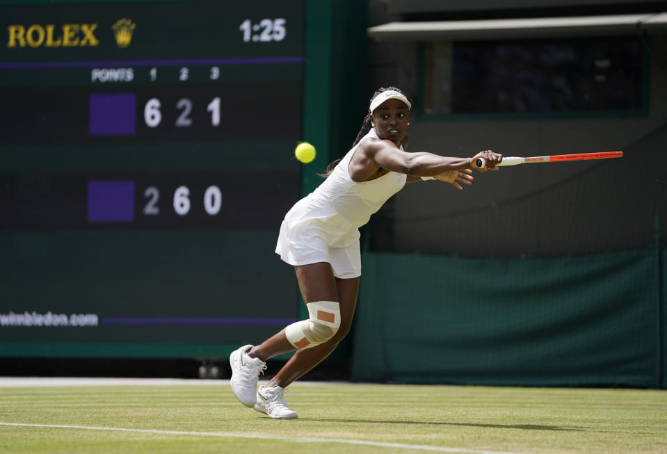 Sloane Stephens of the US plays a return to Russia's Liudmila Samsonova during women's singles third round match against on day five of the Wimbledon Tennis Championships in London, Friday July 2, 2021. (AP Photo/Alberto Pezzali)