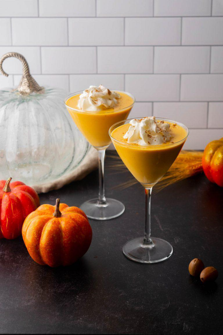 "<p>This is the perfect martini that uses some fall favorite flavors such as <a href=""https://www.thedailymeal.com/cook/8-fall-apple-recipes-slideshow?referrer=yahoo&category=beauty_food&include_utm=1&utm_medium=referral&utm_source=yahoo&utm_campaign=feed"" rel=""nofollow noopener"" target=""_blank"" data-ylk=""slk:apple cider"" class=""link rapid-noclick-resp"">apple cider</a>. Throw together some vodka, pumpkin puree, a fall spice simple syrup and apple cider for a sweet seasonal drink.</p> <p><a href=""https://www.thedailymeal.com/recipe/pumpkin-spice-monkey-martini?referrer=yahoo&category=beauty_food&include_utm=1&utm_medium=referral&utm_source=yahoo&utm_campaign=feed"" rel=""nofollow noopener"" target=""_blank"" data-ylk=""slk:For the Pumpkin Spice Monkey Martinis recipe, click here."" class=""link rapid-noclick-resp"">For the Pumpkin Spice Monkey Martinis recipe, click here.</a></p>"
