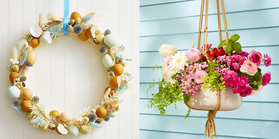 """<p>Easter is basically an open invitation to take your party outside since the weather is<em> finally </em>warm enough to do so. That said, you'll probably need to start preparing for your <a href=""""https://www.goodhousekeeping.com/holidays/easter-ideas/g4151/easter-egg-hunt-ideas/"""" rel=""""nofollow noopener"""" target=""""_blank"""" data-ylk=""""slk:annual Easter egg hunt"""" class=""""link rapid-noclick-resp"""">annual Easter egg hunt</a> — like yesterday<em>. </em>Once you tackle the fallen leaves and sparse grass spots in your yard (<a href=""""https://www.goodhousekeeping.com/home/gardening/advice/a19217/spring-clean-your-yard/"""" rel=""""nofollow noopener"""" target=""""_blank"""" data-ylk=""""slk:spring cleaning for your yard"""" class=""""link rapid-noclick-resp"""">spring cleaning for your yard</a>, no?), dress up your yard, deck, front porch, or doorstep with these outdoor Easter decorations. While all of <a href=""""https://www.goodhousekeeping.com/holidays/easter-ideas/g2217/easter-decorations/"""" rel=""""nofollow noopener"""" target=""""_blank"""" data-ylk=""""slk:these decoration ideas"""" class=""""link rapid-noclick-resp"""">these decoration ideas</a> celebrate what the cheery holiday is known for — <a href=""""https://www.goodhousekeeping.com/holidays/easter-ideas/g419/easter-egg-decorating-ideas/"""" rel=""""nofollow noopener"""" target=""""_blank"""" data-ylk=""""slk:decorated eggs"""" class=""""link rapid-noclick-resp"""">decorated eggs</a>, bright flowers, and soft pastels — they all come with different DIY experience levels, so you can craft party-ready decor no matter your skill set. Lucky for you, even if you opt for the easiest DIY, you'll instantly up your home's curb appeal, making it the most festive house on the block. The Easter bunny won't miss it, that's for sure. </p>"""