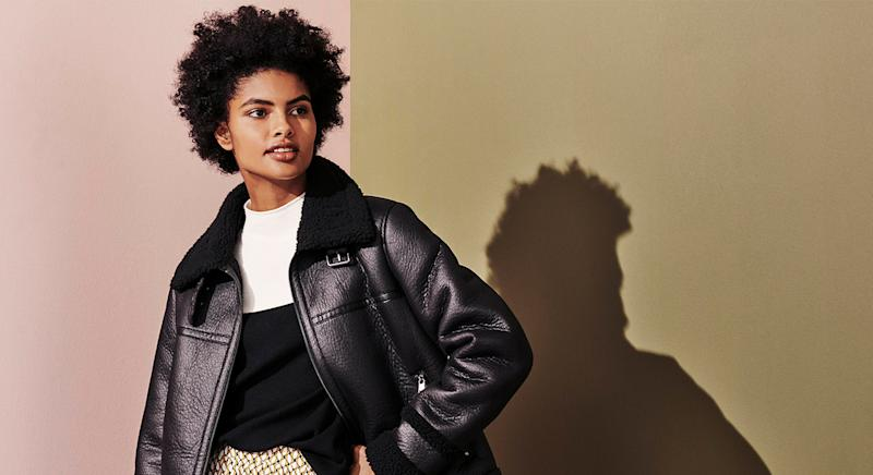 M&S' autumn collection has dropped and we predict the Faux Shearling Borg Lined Aviator Jacket will sell out fast. (Getty Images)