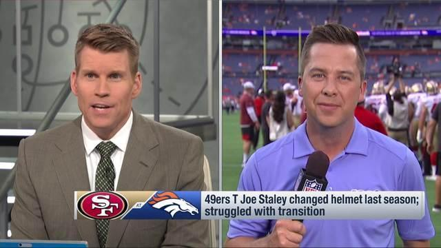 NFL Network's James Palmer says San Francisco 49ers offensive tackle Joe Staley empathizes with Oakland Raiders wide receiver Antonio Brown's helmet dispute.