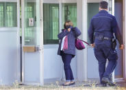 Paola Regeni, mother of slain Italian doctoral student Giulio Regeni, arrives at the Rebibbia prison in Rome, Thursday, Oct. 14, 2021, to attend the first hearing of the trial for the death of Italian doctoral student Giulio Regeni, who disappeared for several days in January 2016 before his body was found on a desert highway north of the Egyptian capital. Italian prosecutors have formally put four high-ranking members of Egypt's security forces under investigation for their alleged roles in the slaying. (AP Photo/Andrew Medichini)