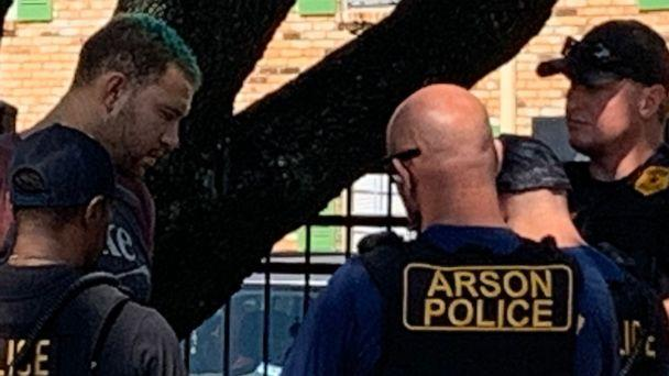PHOTO: Joshua A. Rauch, 28, pictured here with green hair is arrested on Oct. 10, 2020, by police and arson investigators in Houston on suspicion of setting a series of fires that terrorized a neighborhood. (Houston Fire Department via Twitter)