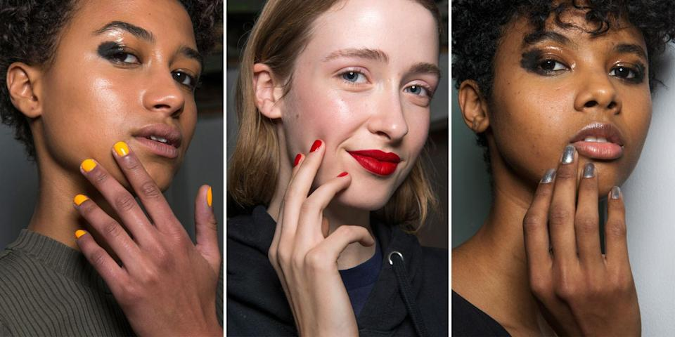 <p>Orange, red, and silver nails matched the diverse lip and eye looks backstage at Osman London.</p>