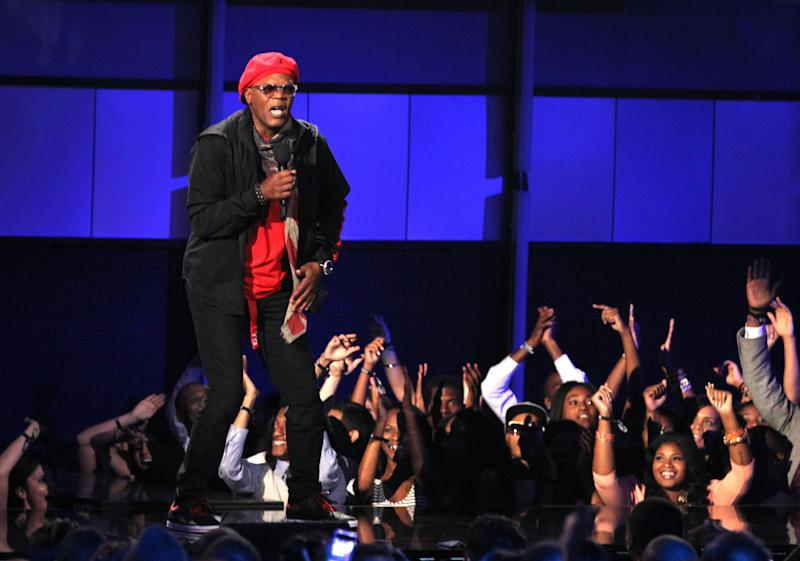 Host Samuel L. Jackson appears on stage at the BET Awards on Sunday, July 1, 2012, in Los Angeles. (Photo by Matt Sayles/Invision/AP)