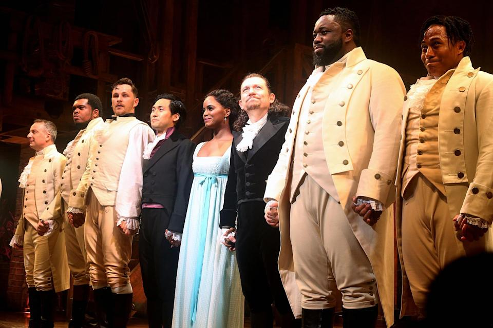<p>The cast of <em>Hamilton </em>was visibly emotional at the show's first curtain call since the March 2020 Broadway shutdown. </p>
