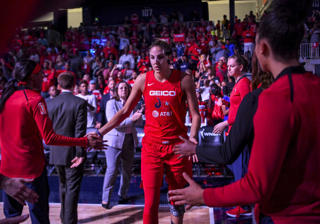 "<a class=""link rapid-noclick-resp"" href=""/wnba/teams/was"" data-ylk=""slk:Washington Mystics"">Washington Mystics</a> forward <a class=""link rapid-noclick-resp"" href=""/wnba/players/5058/"" data-ylk=""slk:Elena Delle Donne"">Elena Delle Donne</a> said her back injury is worse than the knee last year. (Photo by Jonathan Newton / The Washington Post via Getty Images)"
