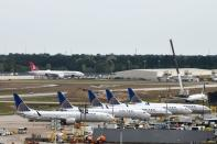 United Airlines planes, including a Boeing 737 MAX 9 model, are pictured at George Bush Intercontinental Airport in Houston