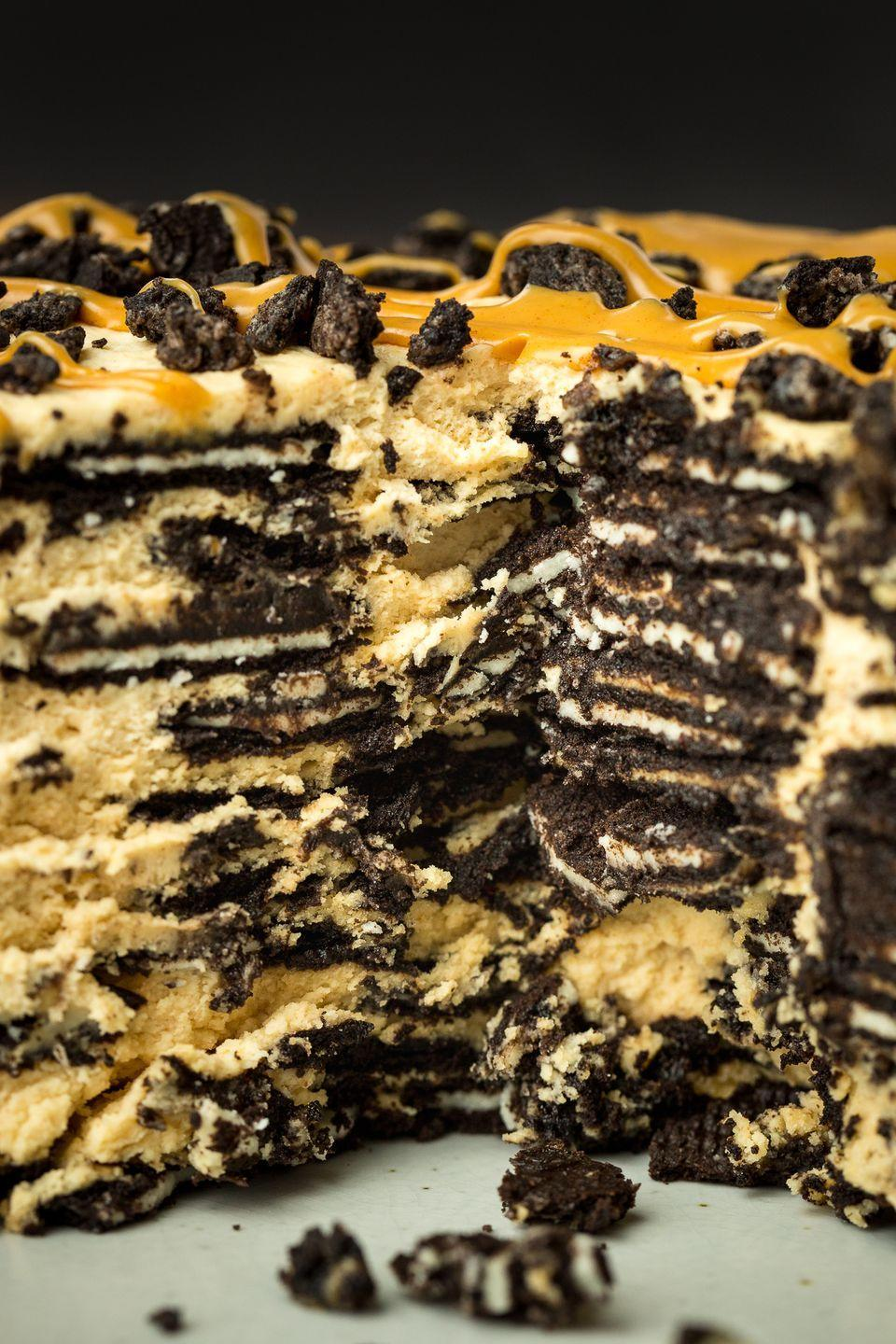 """<p>Peanut butter and Oreos may be the world's greatest combination.</p><p>Get the recipe from <a href=""""https://www.delish.com/cooking/recipe-ideas/recipes/a47079/peanut-butter-oreo-icebox-cake/"""" rel=""""nofollow noopener"""" target=""""_blank"""" data-ylk=""""slk:Delish"""" class=""""link rapid-noclick-resp"""">Delish</a>.</p>"""