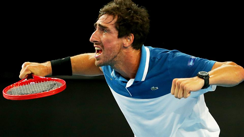 Pablo Cuevas, pictured here mocking the umpire with over-exaggerated antics.