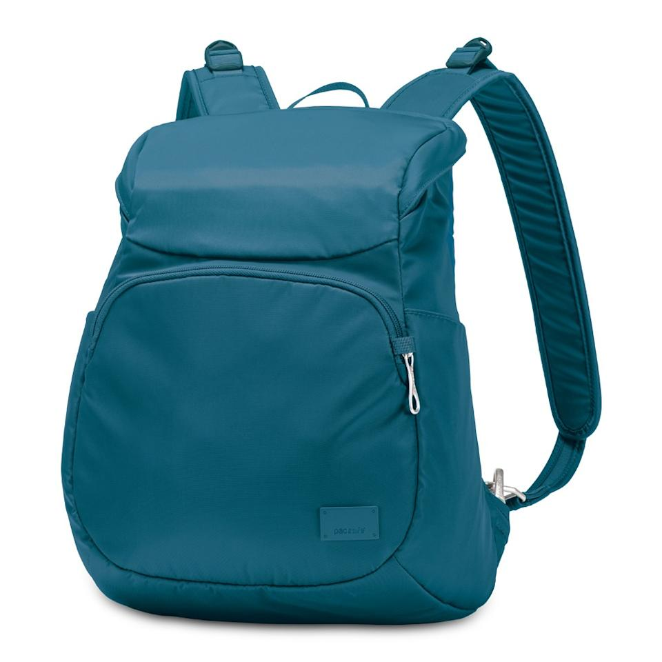 """<p><a rel=""""nofollow"""" href=""""http://www.alloutdoor.co.uk/bags-packs/daypacks/pacsafe-citysafe-cs300-anti-theft-backpack.htm#b""""><b>Pacsafe Citysafe CS300 Anti Theft Backpack</b></a><b>, £97.62.</b><span>Ward off pickpockets with this great day pack, that features slashguard straps made using steel wire, hooks so you can attach the bag to a secure fixture and blocking material to prevent thieves stealing information from your contactless cards. An ideal choice for city breaks. [Photo: Pacsafe]</span> </p>"""