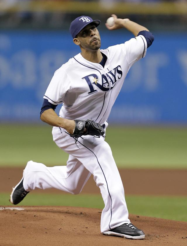 Tampa Bay Rays starting pitcher David Price delivers to Boston Red Sox's Dustin Pedroia during the first inning of a baseball game Tuesday, Sept. 10, 2013, in St. Petersburg, Fla. (AP Photo/Chris O'Meara)