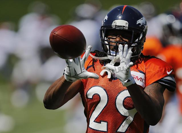 Denver Broncos' Bradley Roby runs a drill during NFL football training camp on Thursday, Aug. 14, 2014, in Englewood, Colo. (AP Photo/Jack Dempsey)