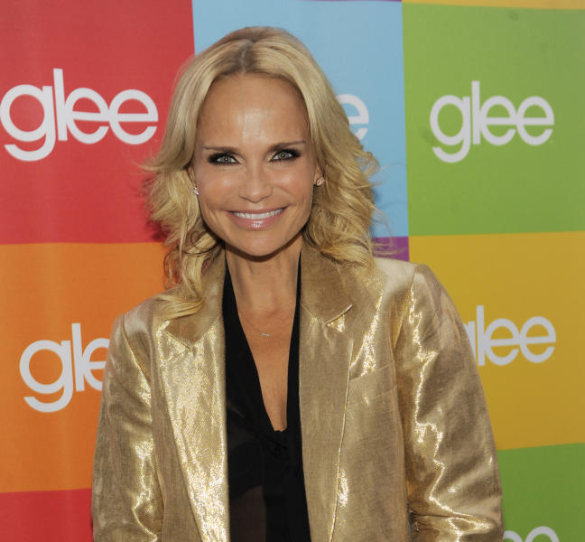 """FILE - In this Aug. 15, 2011 file photo, """"Glee"""" cast member Kristin Chenoweth poses before the """"Glee Sing-A-Long"""" event at Santa Monica High School in Santa Monica, Calif. Chenoweth issued a statement Monday, Aug. 13, 2012 expressing """"deep regret"""" that she is unable to return to the CBS legal drama """"The Good Wife,"""" after sustaining injuries on set during filming. AP Photo/Chris Pizzello, File)"""