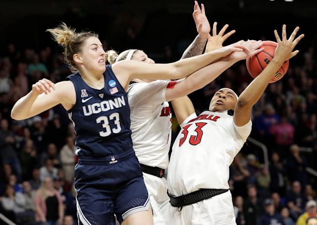 Katie Lou Samuelson overcame foul trouble to score 29 points and lead UConn to its 12th consecutive Final Four.