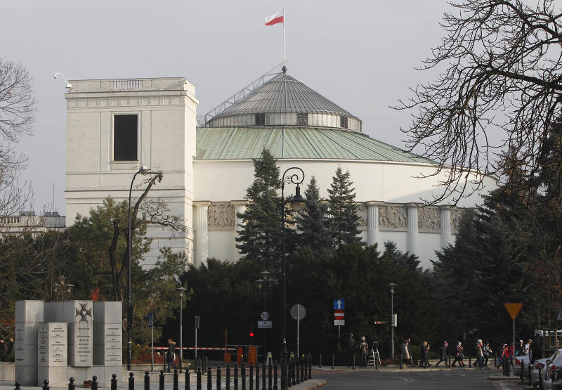 The exterior of Poland's Parliament in Warsaw, Poland, on Tuesday, Nov. 20, 2012, an intended target of a terrorist attack on state leaders. Prosecutors said Tuesday that they have arrested a 45-year-old chemist who was planning to detonate some four tons of explosives in front of the building, while President Bronislaw Komorowski, Prime Minister Donald Tusk, Cabinet members and lawmakers were inside. The man's motivation was nationalist, xenophobic and anti-Semitic, prosecutor Mariusz Krason said. (AP Photo/Czarek Sokolowski)
