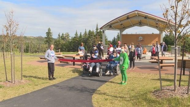 Organizers mark the beginning of Easter Seals N.L.'s 2021 Run, Walk, Stroll and Roll event in St. John's on Sunday. (Emma Grunwald/CBC - image credit)