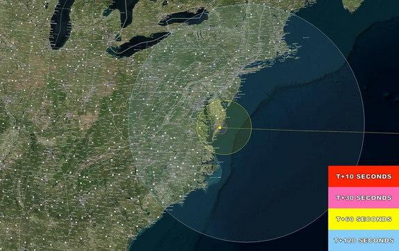 This NASA map shows the regions of visibility for the LADEE moon probe launch from Wallops Island, Va., on Sept. 6, 2013 at 11:27 p.m. EDT (0327 GMT).